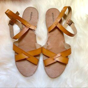 Merona Tan Strappy Flat Sandals